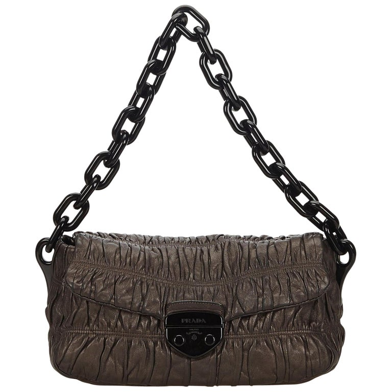 4a1cacab25c5 Prada Brown Gathered Leather Chain Shoulder Bag at 1stdibs
