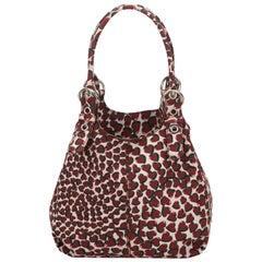 Prada Red x White Cotton Heart Print Hobo Bag