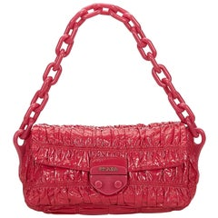 Prada Pink Patent Leather Vernice Gaufre Chain Shoulder Bag