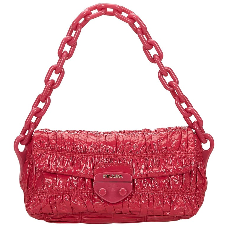 f417a2c3fb Prada Pink Patent Leather Vernice Gaufre Chain Shoulder Bag For Sale ...