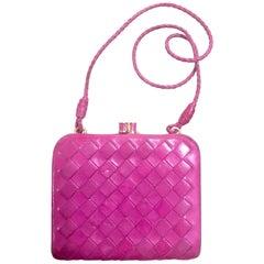 Vintage Bottega Veneta pink intrecciato woven leather wallet, coin case purse.