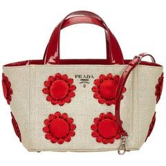 Prada White x Ivory x Red Mistolino Floral Basket Handbag