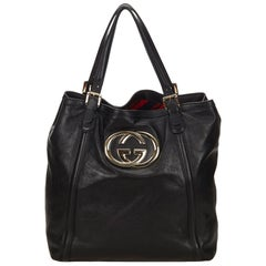 Gucci Black Leather Britt Tote Bag