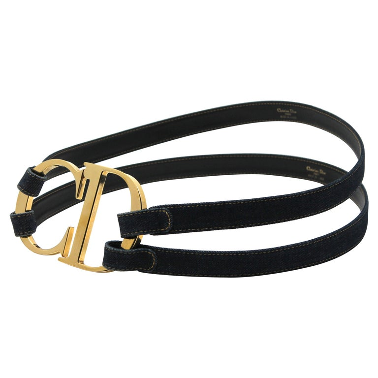 Galliano for Dior Logo Belt with Denim Straps, c. 00's, Size L