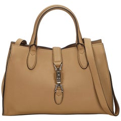 Gucci Brown x Beige Medium Leather New Jackie Satchel