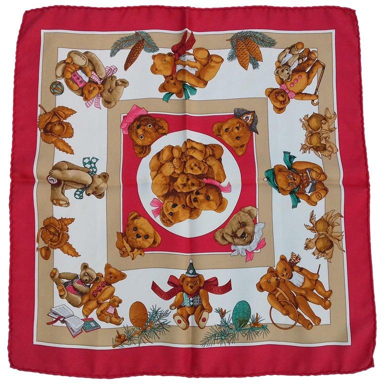 Hermès Silk Scarf Gavroche Confidents des Coeurs Bear Loic Dubigeon 43 cm For Sale