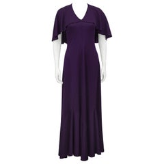1970s Clovis Ruffin Purple Capelet Dress