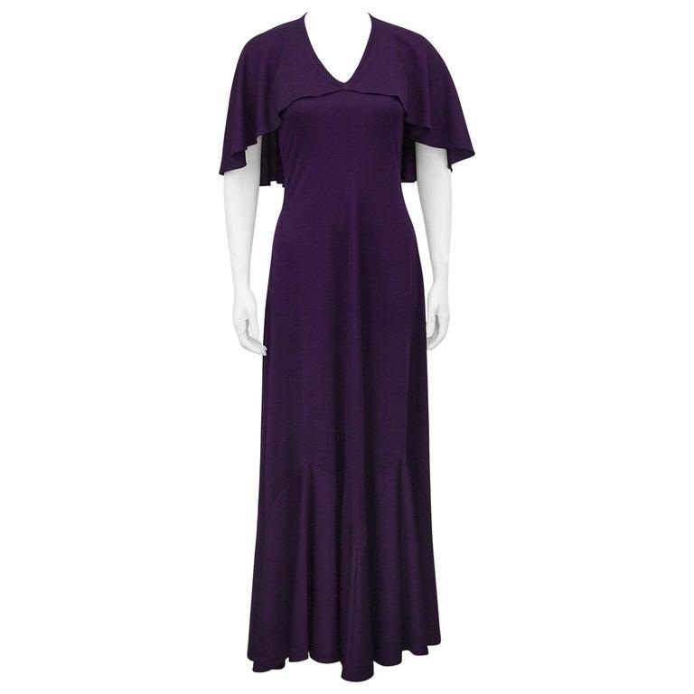1970s Clovis Ruffin Purple Capelet Dress