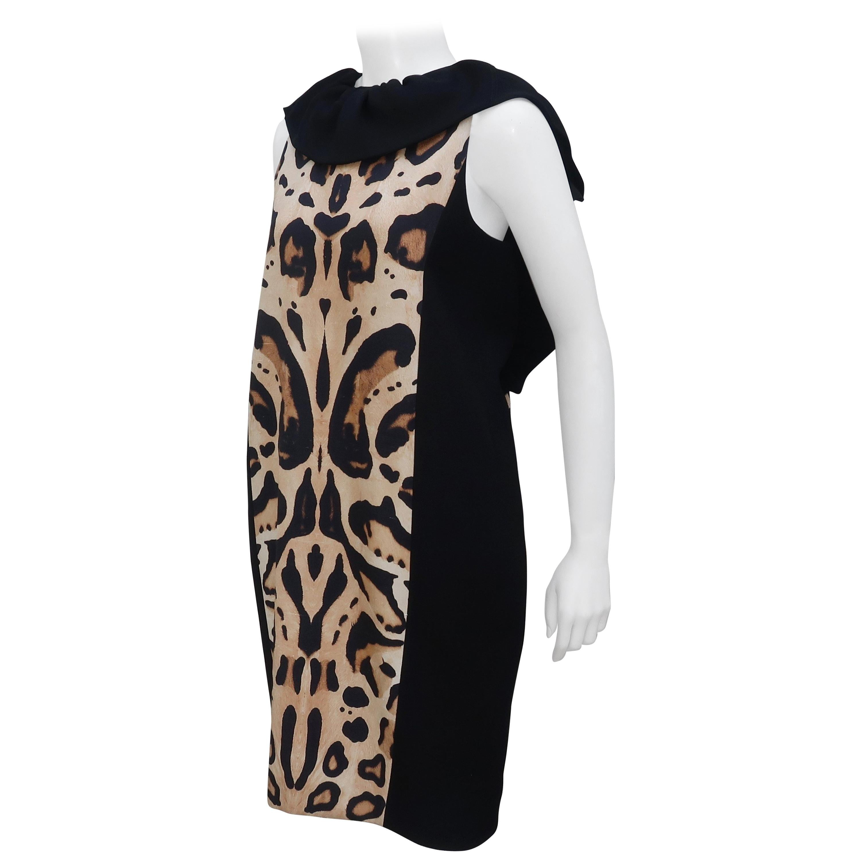 Giambattista Valli Animal Print Silk Linen Dress With Ruffled Collar