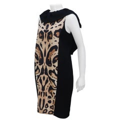 Giambattista Valli Animal Print Silk Linen Dress With Ruffled Collar