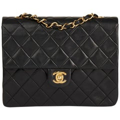 1990 Chanel Black Quilted Lambskin Vintage Mini Flap Bag
