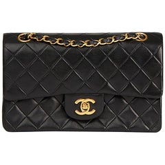 1987 Chanel Black Quilted Lambskin Vintage Small Classic Double Flap Bag