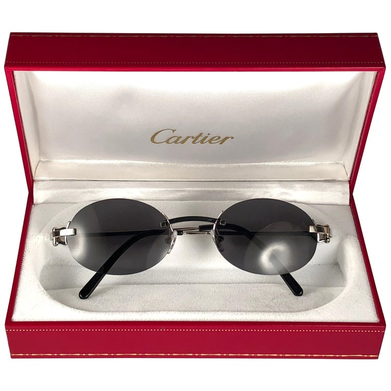 6b92e5760262 New Vintage Cartier Shamal Platine Rimless Grey Lens Case France Sunglasses  For Sale