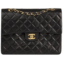 1987 Chanel Black Quilted Lambskin Vintage Medium Tall Classic Double Flap Bag