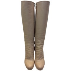 Dior Tan Leather Knee High Boots