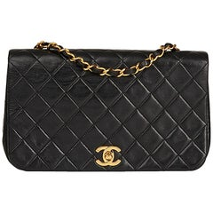 1990 Chanel Black Quilted Lambskin Small Classic Single Full Flap Bag