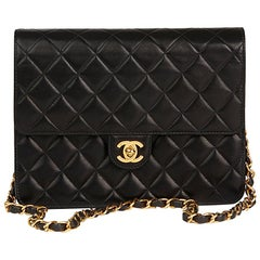 2004 Chanel Black Quilted Lambskin Small Classic Single Full Flap Bag