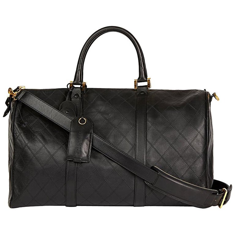 1994 Chanel Black Quilted Lambskin Boston