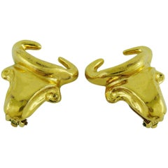 Christian Lacroix Vintage Bull Head Clip-On Earrings