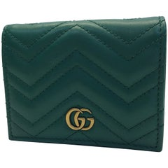 Gucci Green Chevron Leather Wallet