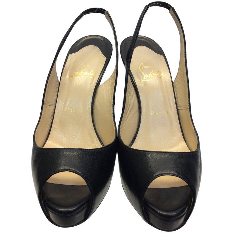 Christian Louboutin Black Leather Slingback Peep Toe Heel