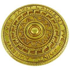 Yves Saint Laurent YSL Vintage Gold Toned Ethnic Aztec Pattern Brooch