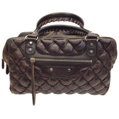 Balenciaga Brown Quilted Leather Handbag