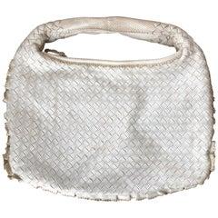 Bottega Veneta Intreccio Perforated White Leather Hobo with Ruffle Edge