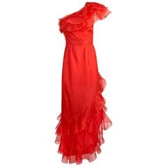 1980s Bellville Sassoon Ruffled Red Chiffon One Shoulder Dress