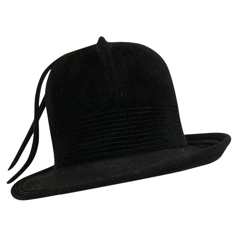 a658828d507 1970s Yves Saint Laurent Black Felt High Bowler Hat at 1stdibs