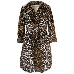 1960s Adele Simpson Amazing Quality Leopard Printed Velveteen Coat