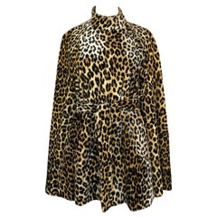 1960s Unlabeled Leopard Printed Faux Fur Velveteen Belted Cape