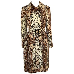 1960s Rain-Paka Traveler Jersey Leopard Print Foldable Trench Coat