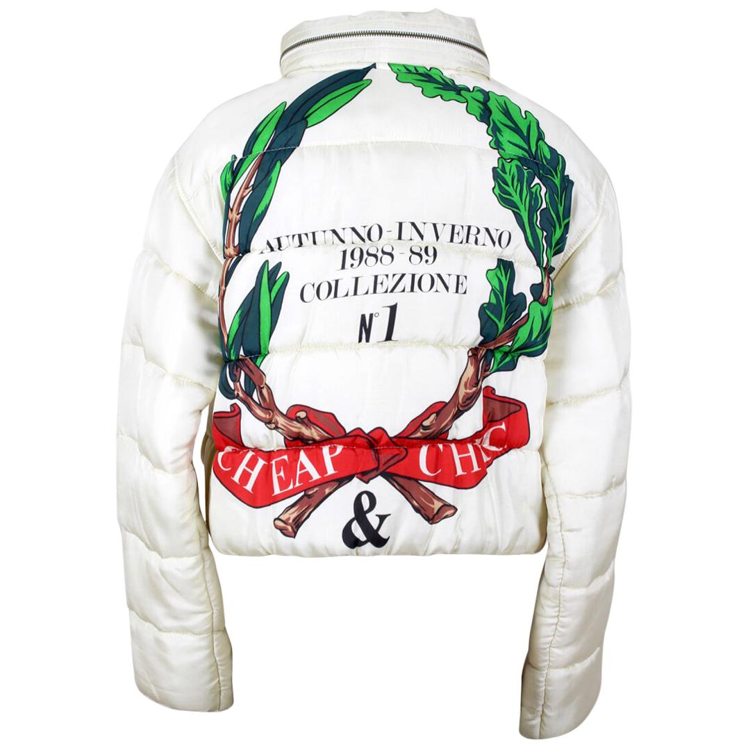 A/W 1988-89 Moschino Cheap & Chic Off-White Laurel Design Padded Jacket
