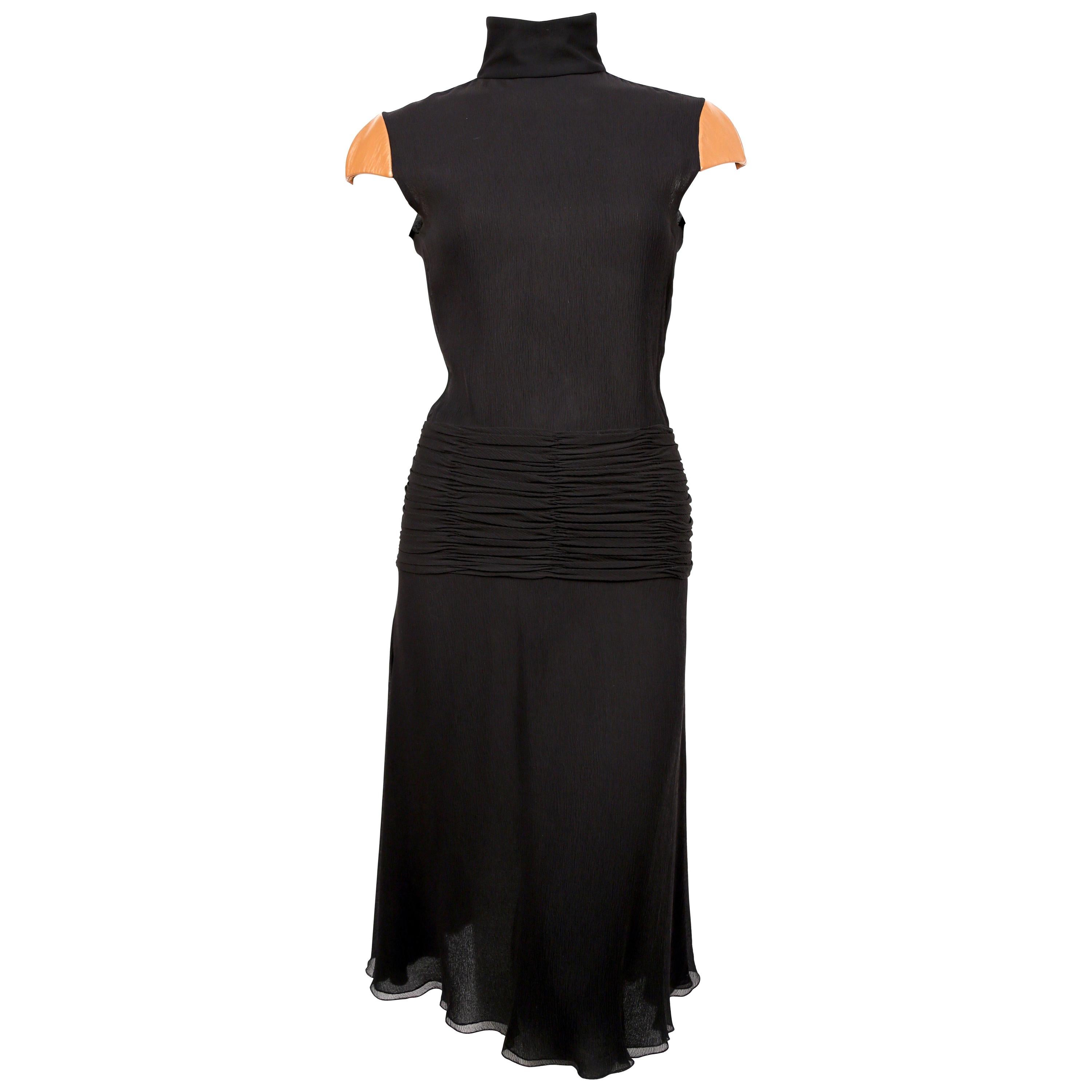2001 GIANNI VERSACE COUTURE black crepe runway dress with leather cap sleeves