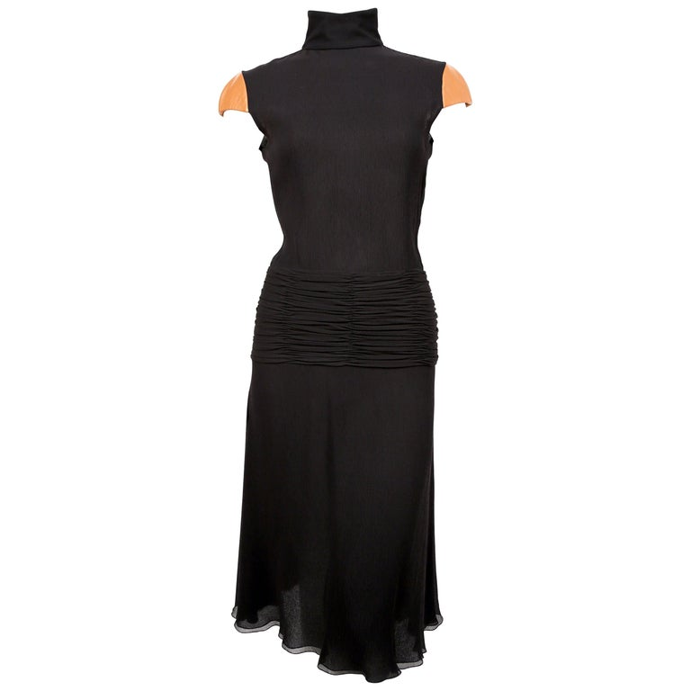 2001 Gianni Versace Couture Black Crepe Runway Dress With Leather