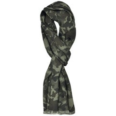 Tom Ford Men's Green Camouflage Print Silk Double Side Fringed Scarf