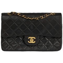 1994 Chanel Black Quilted Lambskin Vintage Small Classic Double Flap Bag