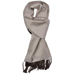 Tom Ford Men's Silver Olive Houndstooth Print Silk Cashmere Scarf