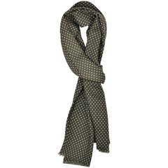 Tom Ford Men's Olive Polka Dot Print Wool Double Side Fringed Scarf