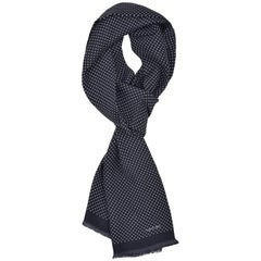 Tom Ford Men's Black Polka Dot Print Silk Double Side Fringed Scarf