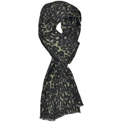 Tom Ford Men's Grey Green Leopard Print Silk Double Side Fringed Scarf