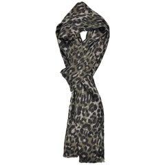 Tom Ford Men's Olive Leopard Print Silk Double Side Fringed Scarf