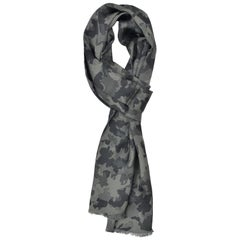 Tom Ford Men Green Grey Camouflage Print Silk Double Side Fringed Scarf