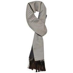 Tom Ford Men's Silver Brown Geometric Print Silk Cashmere Scarf