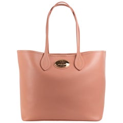 Roberto Cavalli Women Firenze Light Pink Nude Leather Shopping Tote Bag