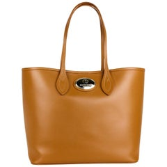 Roberto Cavalli Womens Cognac Brown Large Leather Shopping Tote Bag