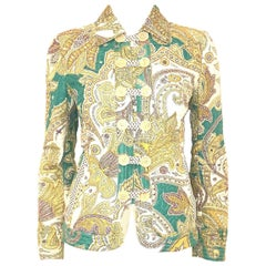 c038f71d177 Etro Garden Floral Paisley Green/Yellow Quilted Jacket W/ Tab Buttons. Etro Beige  and ...