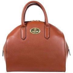 Roberto Cavalli Womens Tan Grained Leather Bowler Handbag
