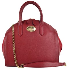 Roberto Cavalli Womens Burgundy Red Grained Leather Bowler Handbag